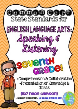Common Core ELA Speaking and Listening Standards Posters 7th grade