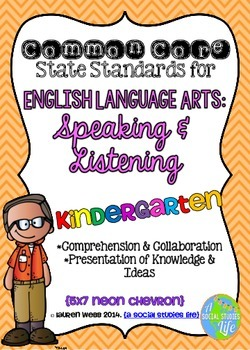 Common Core ELA Speaking and Listening Standards Posters Kindergarten
