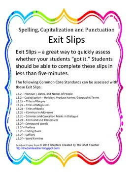 ELA Spelling, Capitalization, and Punctuation Exit Slips - Grade 3