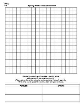 ELA: Spelling Words - Create a Crossword