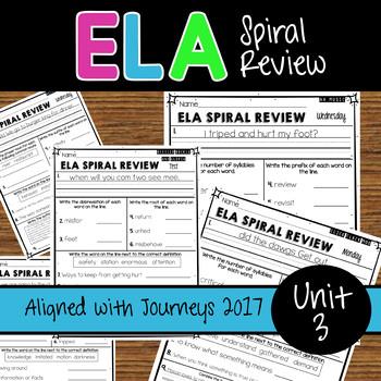 ELA Daily Practice - Unit 3 - Weeks 11-15  Aligned with Journeys 2017