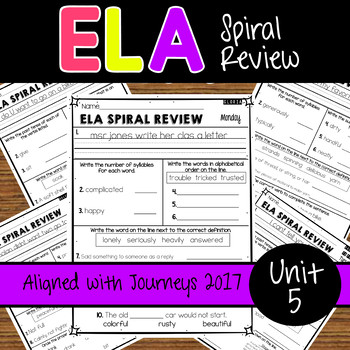 ELA Daily Practice - Unit 5 - Weeks 21-25 Aligned with Journeys 2017