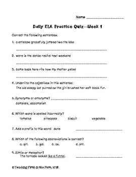 ELA Spiral Review Weekly Quizzes NO PREP FULL YEAR Meets All CCSS Standards