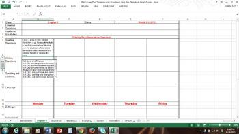 English / LA Spreadsheet Lesson Plan w/ Drop Down WV Next Gen. Standards
