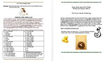ELA Standardized Test Prep: Aesop Fables Grammar Quiz Pack! Common Core Practice