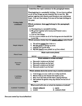 ELA Standardized Test Spiral Review 2nd 9 Weeks