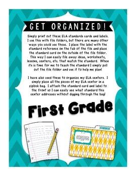 ELA Standards Labels- First Grade