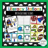 ELA Stations Compound Words, Synonyms,Antonyms, Contractions Football Theme