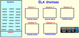ELA Centers (any subject) Smart Board Document for rotating students easily!