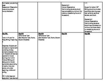 ELA Story Elements Pacing Calendar