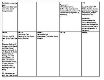ELA Story Elements Pacing Calendar