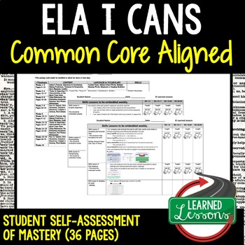 ELA Student Self-Assessment of Mastery Grades 6-8 Common Core Aligned