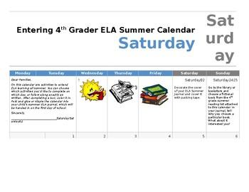 ELA Summer Work Calendar (July 2017) grade 3-4