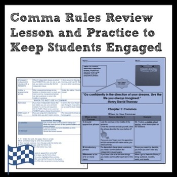 Middle School ELA Comma Rules Review and Practice