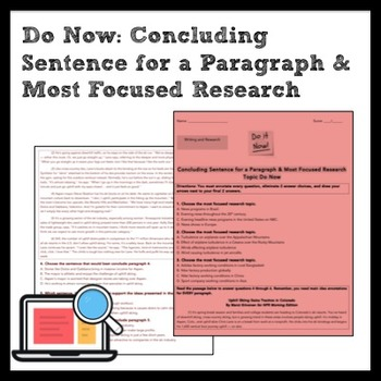ELA Do Now: Best Concluding Sentence & Most Focused Research