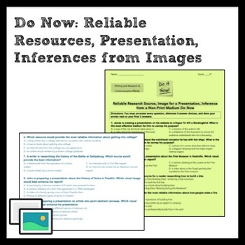 ELA Do Now: Reliable Resource, Image for a Presentation/Im