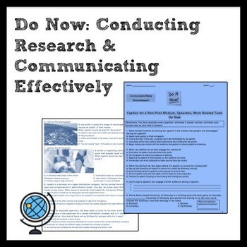 Do Now: Conducting Research & Communicating Effectively