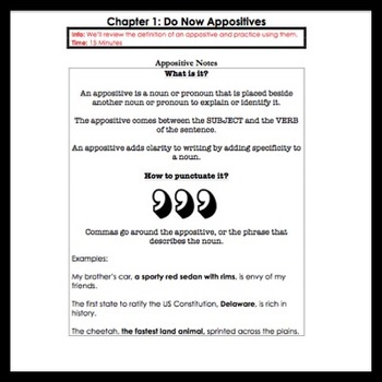 Middle School Grammar: Appositives and Pronoun/Antecedent Agreement
