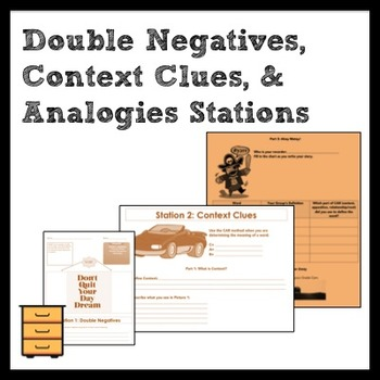 Station/Activity Review for Double Neg., Context Clues, Analogies