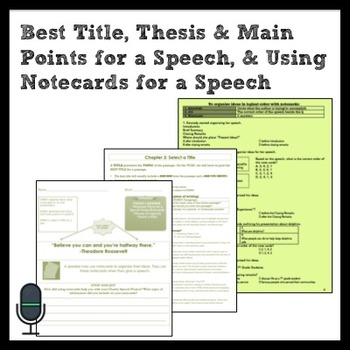ELA: Thesis & Main Points for Speech, Best Title, Speech Notecards