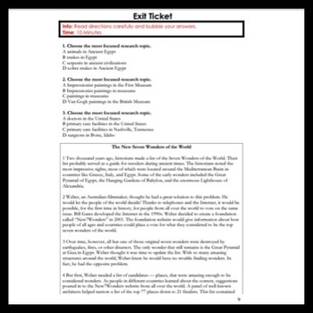 ELA Writing & Research: Most Focused Research Topic & Concluding Sentence