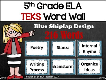5th Grade ELA TEKS Word Wall ~ Blue Shiplap Design
