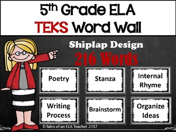 5th Grade ELA TEKS Word Wall ~ Shiplap Design