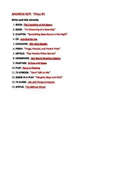 ELA TITLES Underlining / Italicizing Quotation Marks 3 WORKSHEETS & TEST BUNDLE