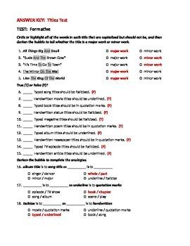 ELA TITLES Underlining / Italicizing & Quotation Marks TEST / Assessment
