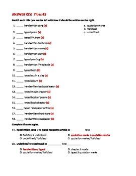 ELA TITLES Underlining / Italicizing & Quotation Marks WORKSHEET #3