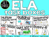 ELA Task Boxes: Set three - Primary