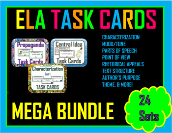 ELA Task Cards Bundle - 339 pages! (MIDDLE SCHOOL)