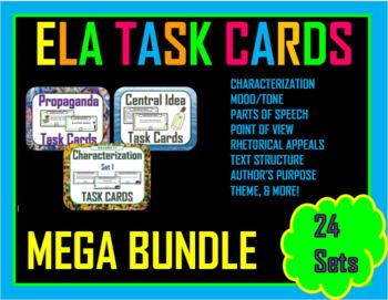 Middle School Language Arts Task Cards Bundle (20 Sets)