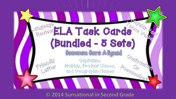 Test Prep task cards for ELA: Common Core Aligned  (Bundled--5 Sets)