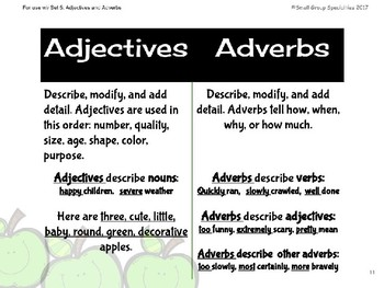 ELA Task Cards - Adjectives and Adverbs