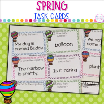 ELA Task Cards/Scoot Game- Flying Into Spring