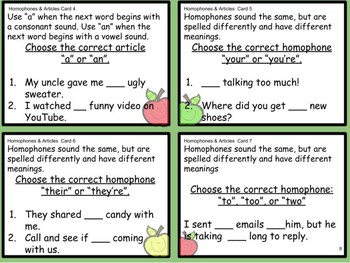 ELA Task Cards - Homophones & Articles
