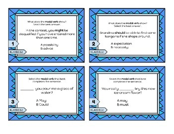 Modal Auxiliaries - can, may, must, etc Task Cards - MN SS 4.L.4.10.1.1.c