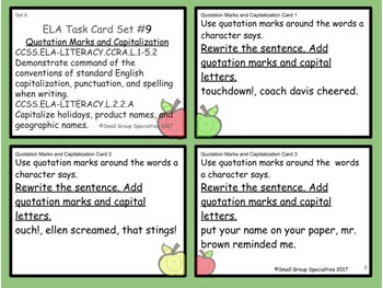 ELA Task Cards - Quotation Marks and Capitalization