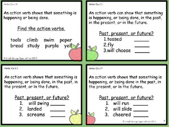 ELA Task Cards - Verbs (Action, Linking, Helping and Past, Present, Future)