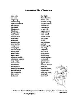 LISTS HANDBOOK   Language SKILLS   Definitions, Examples, Rules   Gr. 3-6