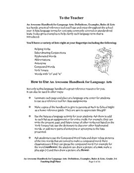 LISTS HANDBOOK | Language SKILLS | Definitions, Examples, Rules | Gr. 3-6