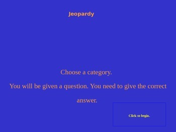 ELA Terms and Vocabulary Review Jeopardy Game