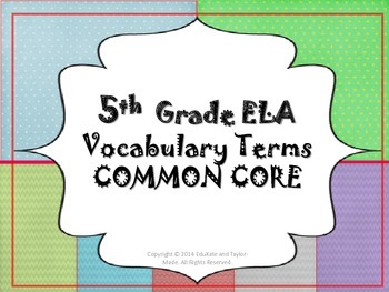 ELA Terms for Common Core