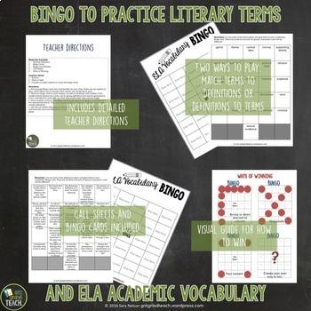 ELA Test Prep Bingo for Academic Vocabulary (8th Grade Standards)