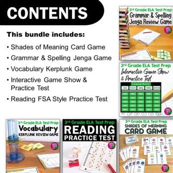 ELA Test Prep Bundle 3rd Grade: 4 Games & 1 Reading Practice Test FSA