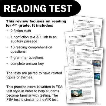 ELA Test Prep Bundle 4th Grade VOLUME 2 Games, Center, Reading Practice Test FSA