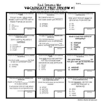 ELA Test Prep - Find Someone Who - Vocabulary Skills