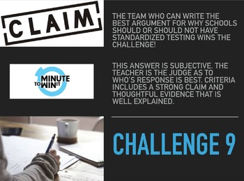 ELA Test Prep: Minute to Win It Challenges (Middle School Level)