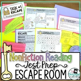 ELA Test Prep Nonfiction Reading Escape Room Activity